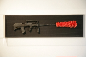"""The Gunduster"", 2009 Bullpup rifle (86S Type), decommissioned and certificate, red feather duster, super 130 Merino wool pinstripe"