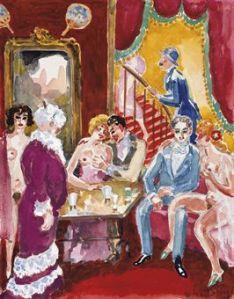 KEES VAN DONGEN (1877-1968) Le narrateur et Albert Bloch à la maison close avec le cachet de l'atelier 'Van Dongen' (en bas à droite) aquarelle, gouache et traces de mine de plomb sur papier 24.5 x 21.2 cm. (9 5/8 x 8 3/8 in.) Exécuté vers 1946-47